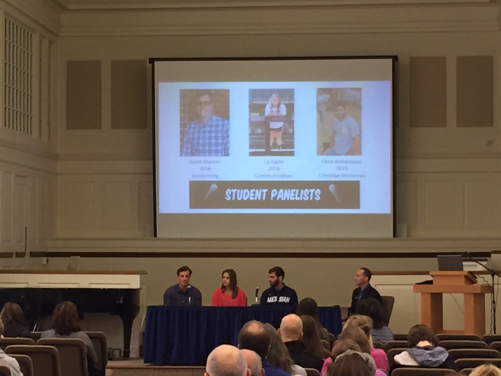Student panelists at our final Falcon Friday on April 24. Garth Martin, Liz Gallo, and Chris Williamson.