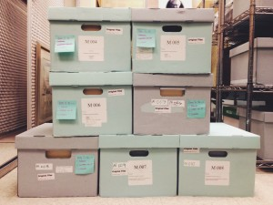 "Archival boxes containing manuscript drafts of Boyer's book ""Scholarship Reconsidered."""