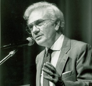 Ernest L. Boyer speaking at a conference on quality teaching in higher education at Drexel University in Philadelphia, Pennsylvania, in 1987. (Boyer Center Archives)