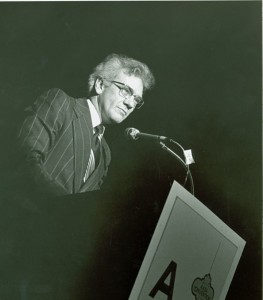 Ernest L. Boyer speaking at the 1977 American Association of School Administrators (AASA) Convention. - BCA