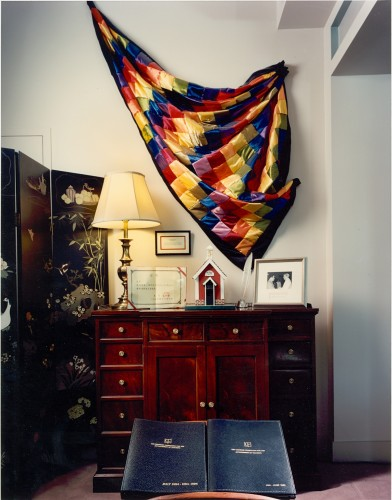 Boyer's quilt of doctoral hoods, made by his mother, Ethel, on display at the Carnegie Foundation for the Advancement of Teaching headquarters in Princeton, New Jersey. - BCA