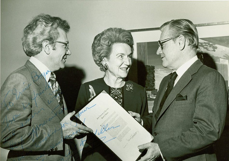 Ernest L. Boyer with Elizabeth Moore, chair of the SUNY board of trustees, and New York Governor Nelson A Rockefeller, April 1974. -- BCA