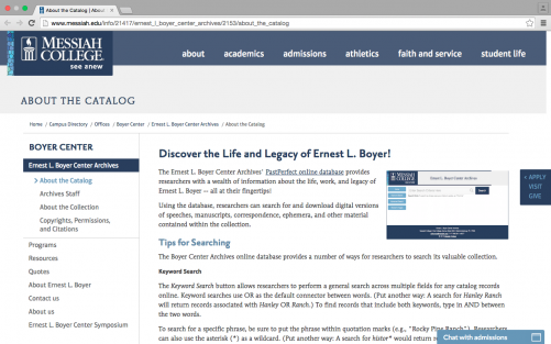 "The new ""Tips for Searching"" section on the Ernest L. Boyer Center Archives website"