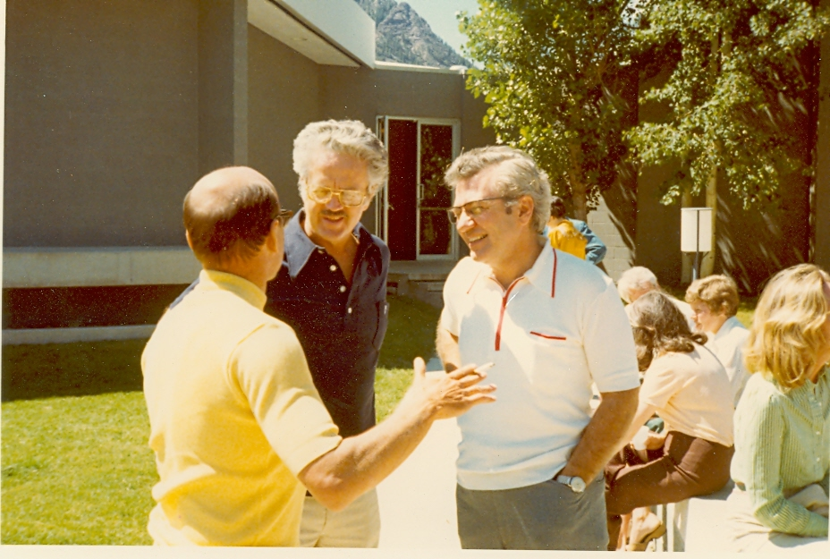 Ernest L. Boyer with Robert Clark and an unnamed man at the 1973 Aspen Education Seminar. - BCA