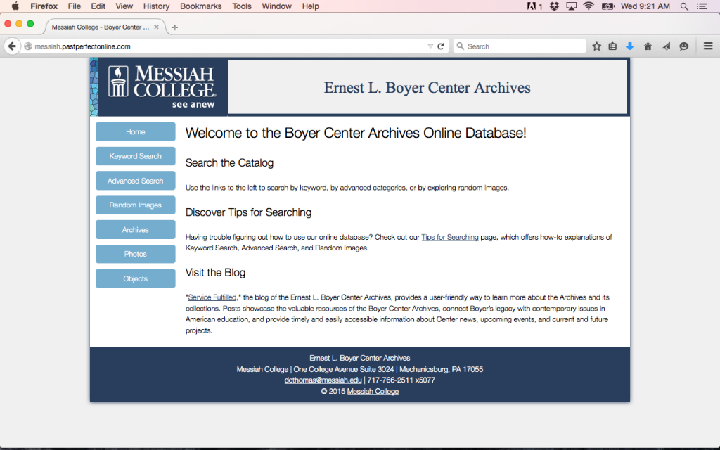 "The Boyer Center Archives has a new-and-improved ""look"" for its online database."