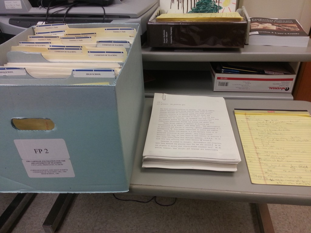 Photo of one example of the many boxes and documents being surveyed at the Boyer Center Archives. -BCA
