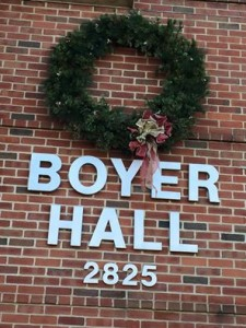 A Christmas scene outside Boyer Hall, a building on the Messiah College campus named after Dr. Boyer.
