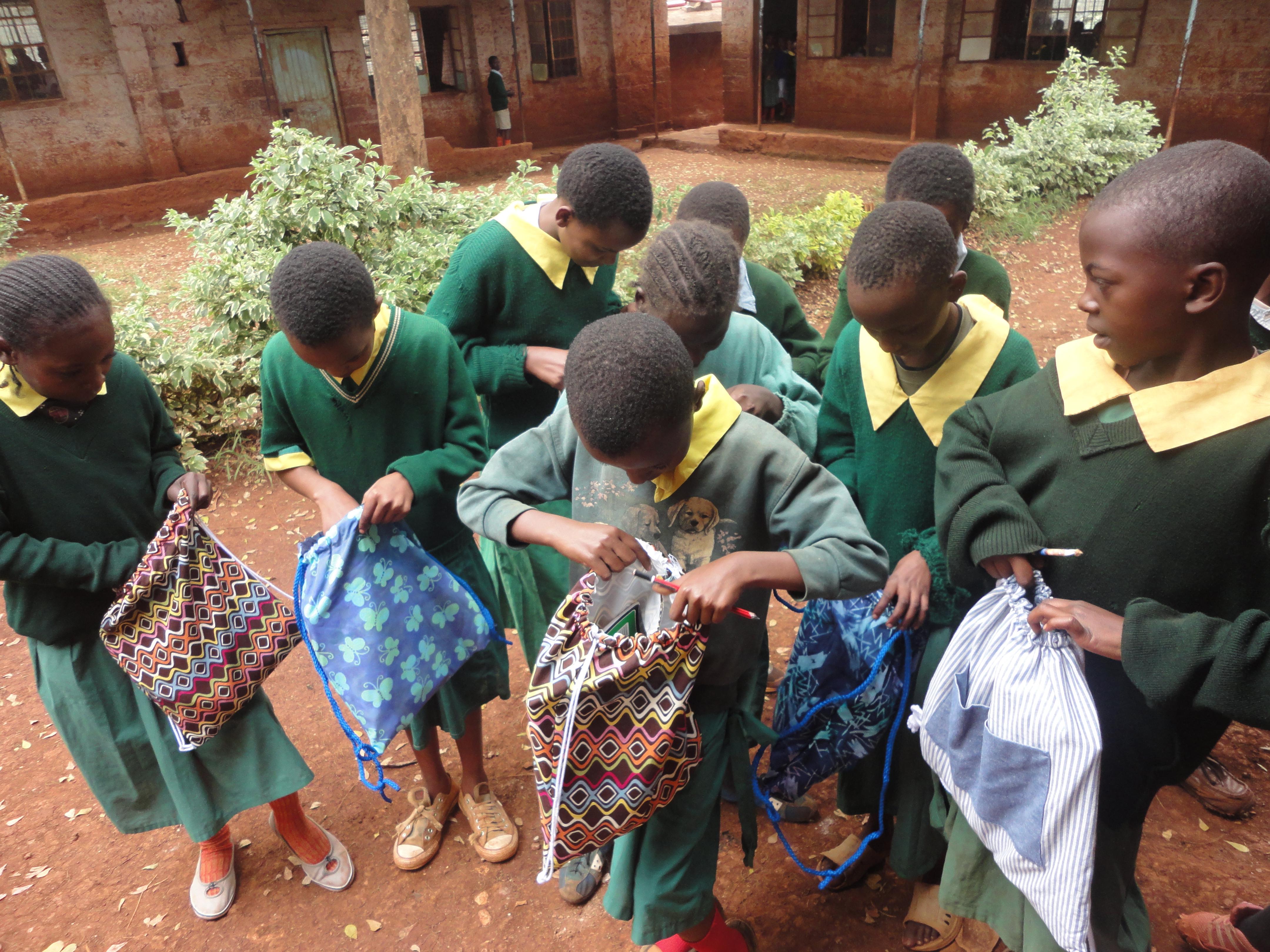 Book bag distribution in Kenya