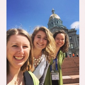 Messiah students, Lauren Martin, Sarah Zwart, and Anna Love (from left to right), at Denver's capital building.